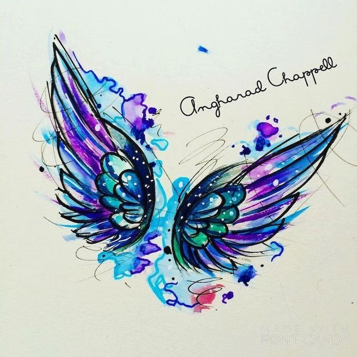 watercolor drawing, angel wings, angel wings tattoo on back, blue and purple, red and green colors, white background