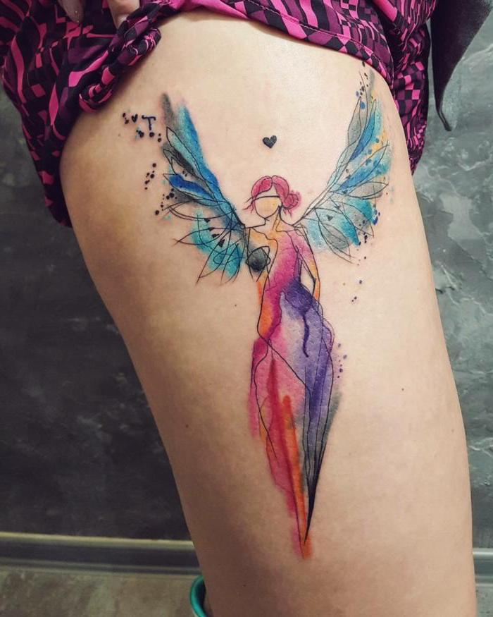 watercolor tattoo, woman with wings, angel wings tattoo on back, thigh tattoo, pink shorts