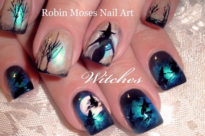 short square nails, cute acrylic nail designs, blue glitter, white glitter, nail polish, black witches, flying over the moon decorations