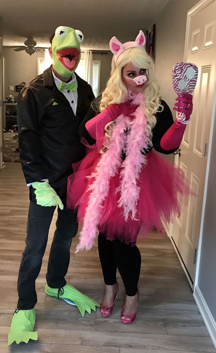 man and woman, miss piggy and kermit, simple halloween costumes, sesame street characters