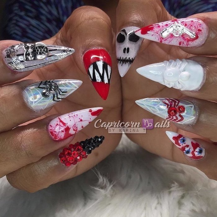 cute fall nails, white and red, chrome nail polish, different decorations, black and red rhinestones, stiletto nails