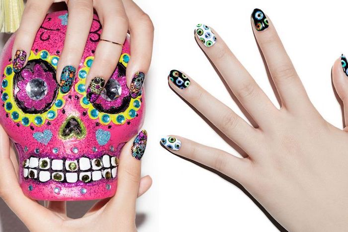 colorful skull, nail design, skull decorations, cute acrylic nail designs, squoval nails, spooky eyes decorations