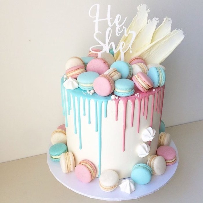 he or she, cake topper, small cake, pink and blue macaroons, gender reveal gifts, pink and blue frosting