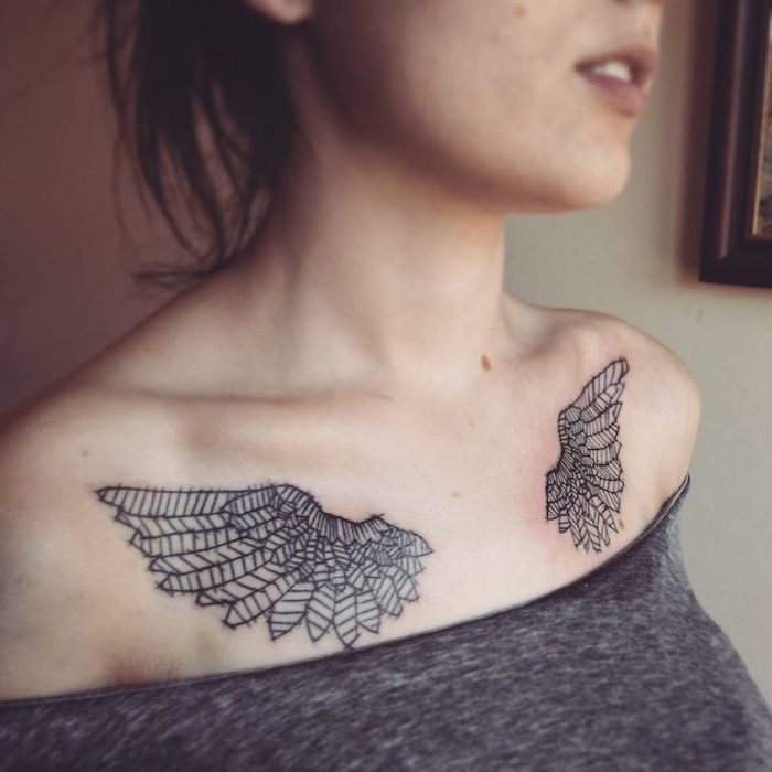 chest tattoo, angel wings, on both shoulders, angel and devil tattoo, woman with grey top, black hair