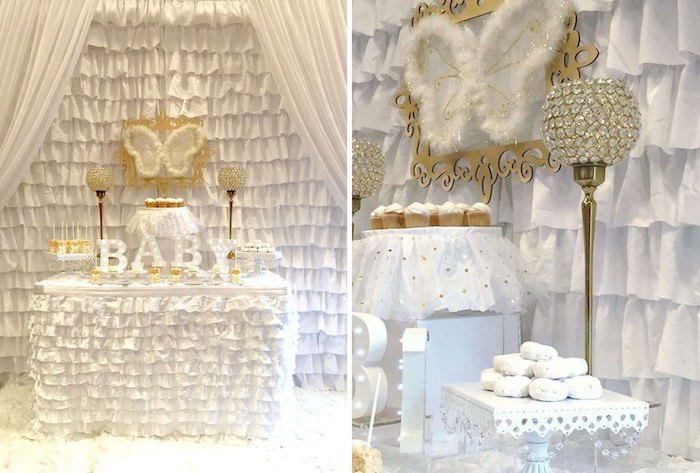 heaven sent theme, angel wings, white and gold decor, when to have a baby shower, cupcakes and donuts