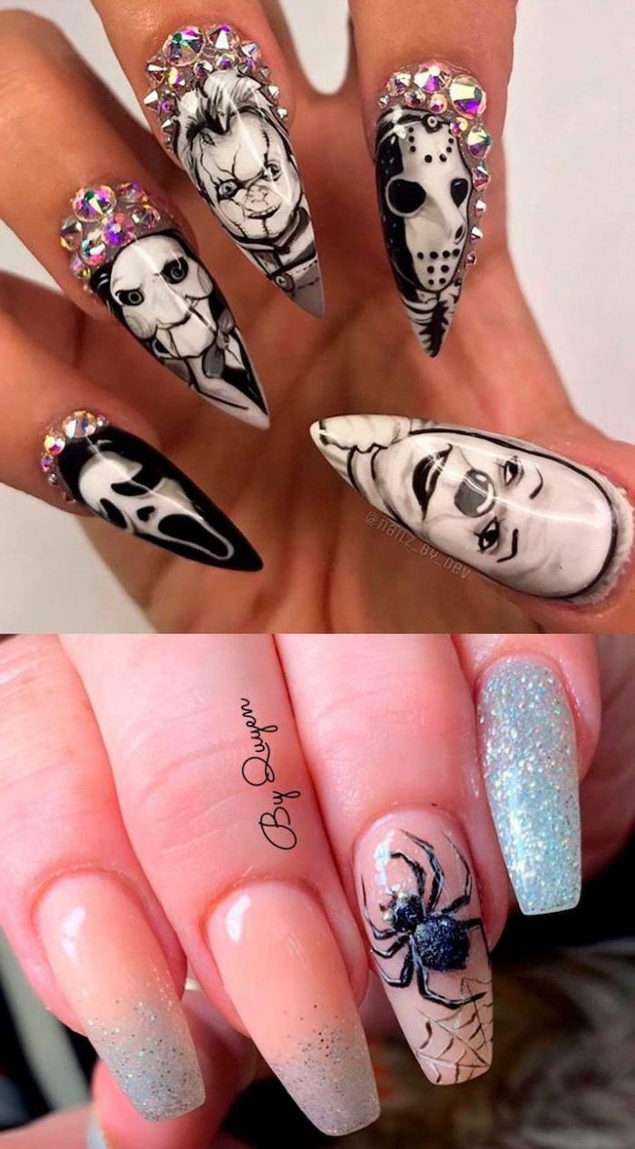 horror movie characters, cute fall nails, stiletto nails, silver rhinestones, squoval nails, spider decorations