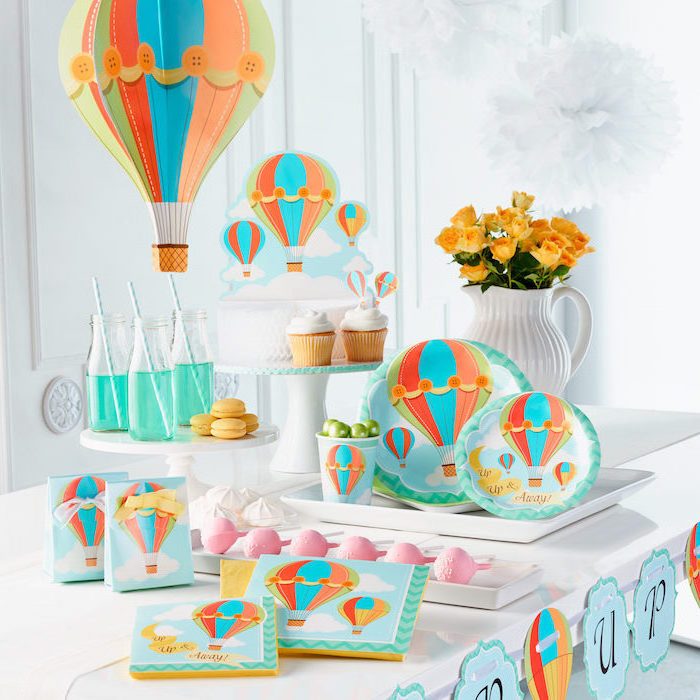 hot air balloon, party theme, colorful decorations, cupcakes and macarons, cake pops, baby shower decorations