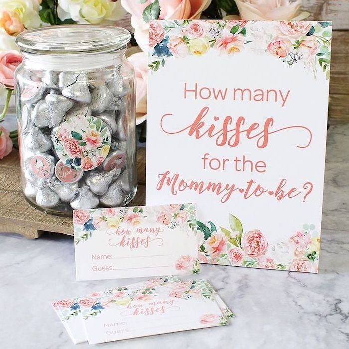 how many kisses for the mommy to be, fun game, baby shower centerpieces girl, candy jar