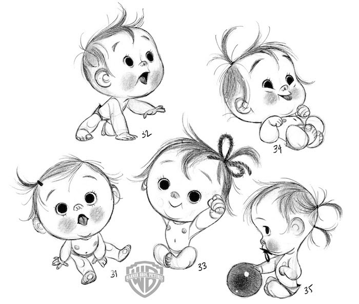 how to draw a baby, in different positions, tracer drawing, black and white sketch
