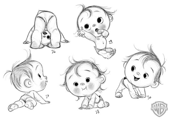 tracing pictures, how to draw a baby, in different positions, black and white sketch