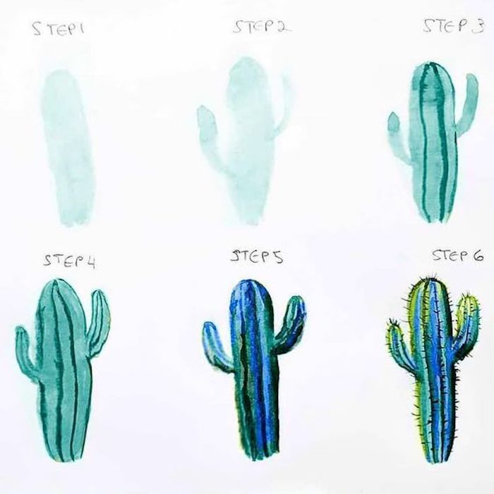 step by step, diy tutorial, drawing pictures, how to draw a cactus, white background