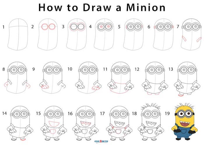 how to draw a minion, step by step, diy tutorial, tracing pictures