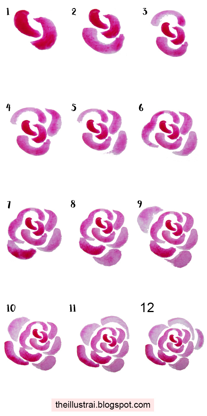 drawing images, how to draw a rose, diy tutorial, step by step, white background, pink paint