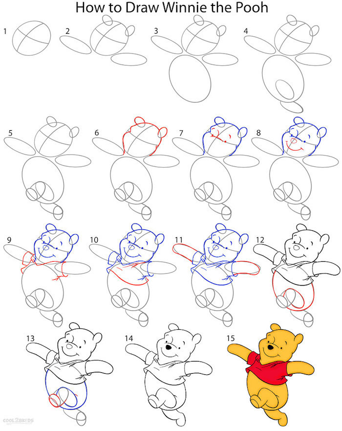 how to draw winnie the pooh, things to trace, step by step, diy tutorial
