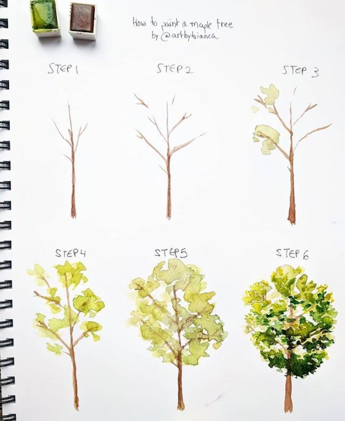 how to paint a maple tree, images to draw, step by step, diy tutorial