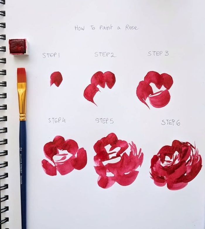 how to paint a rose, step by step, diy tutorial, drawing pictures, white background