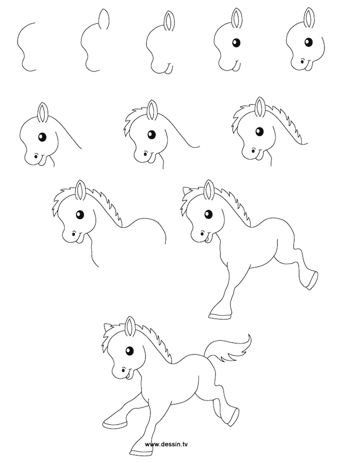 things to trace, how to draw a pony, step by step, diy tutorial, black and white sketch