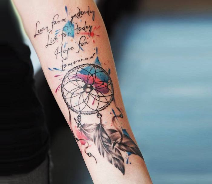 inspirational quote, watercolor tattoo, red and blue colors, dream catcher tattoo on thigh, forearm tattoo