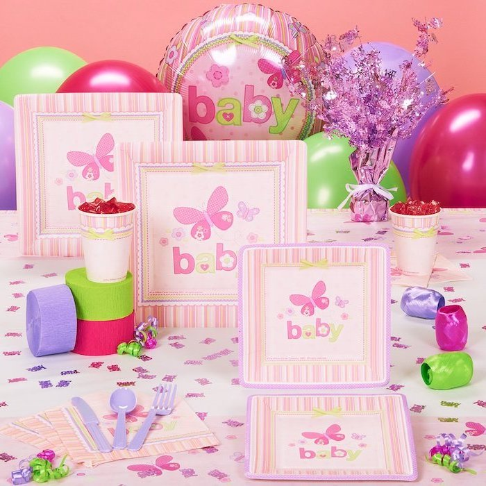 party invitations, colorful decoration, baby shower themes, purple green and pink ribbons