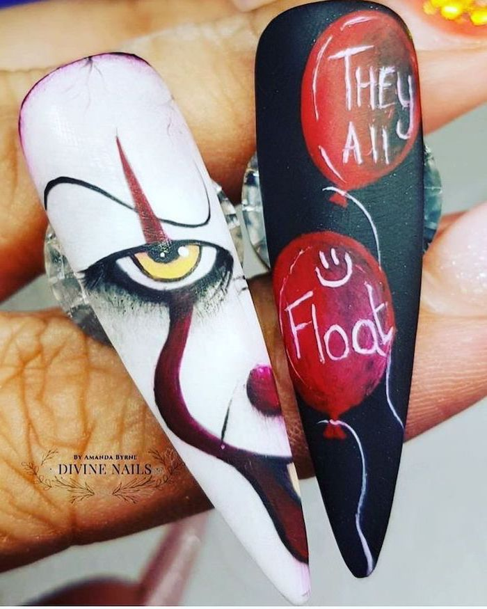 black and gold nail designs, it movie inspired, red balloons, they all float, pennywise decorations, long stiletto nails