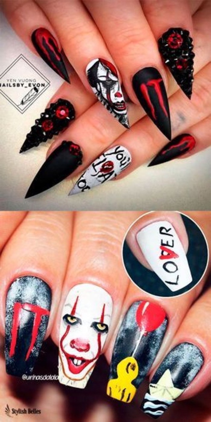 two different designs, inspired by it the movie, black and gold nail designs, pennywise and georgie, red balloons