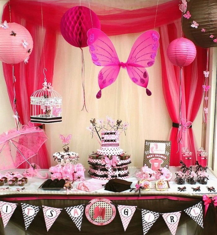 it's a girl garland, pink and black decor, pink and white tulle, baby shower centerpieces girl, three tier cake
