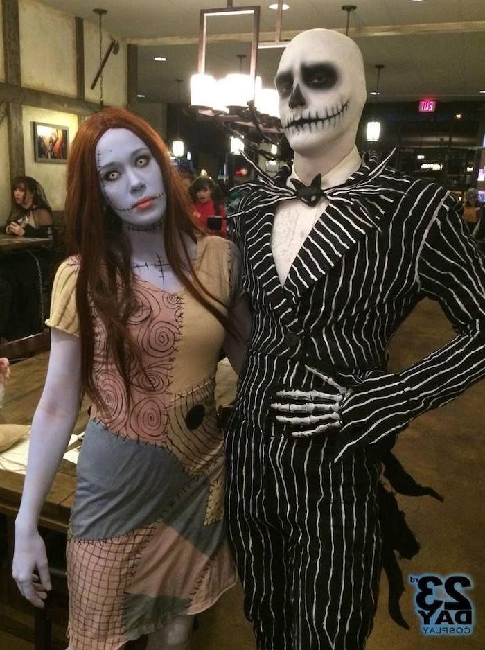 nightmare before christmas, simple halloween costumes, man and woman, jack skellington and sally
