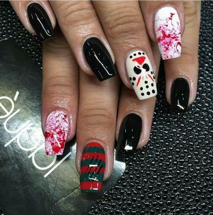 black nail polish, cute acrylic nail ideas, jason voorhees, bloody decorations, squoval nails