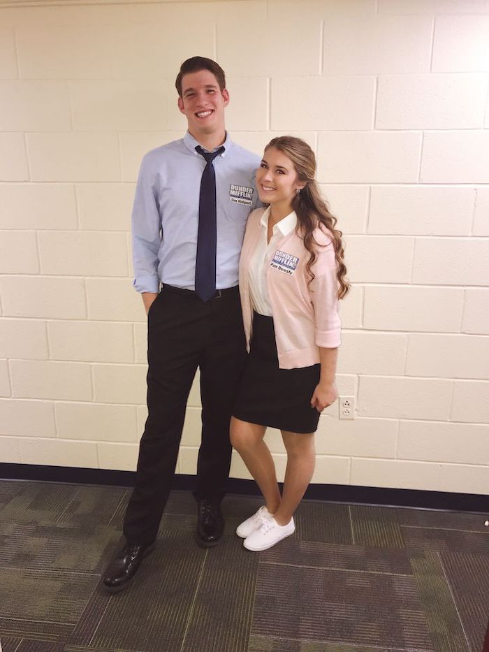 jim halpert, pam beesley, the office characters, what should i be for halloween, white tiled wall