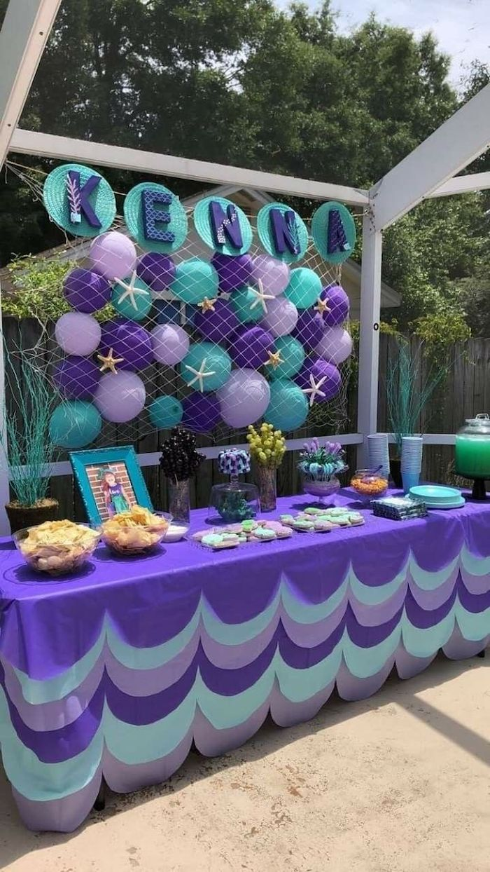 purple and turquoise decor, baby shower centerpieces girl, mermaid theme, dessert table