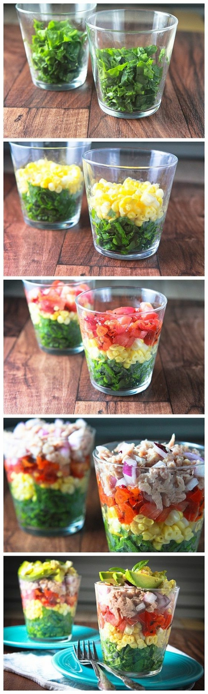 step by step, diy tutorial, green salad, brunch items, corn and tomatoes, meat on top, large glass bowls