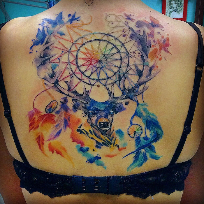 large back tattoo, dream catcher tattoo for men, watercolor tattoo, stag head, black bra straps