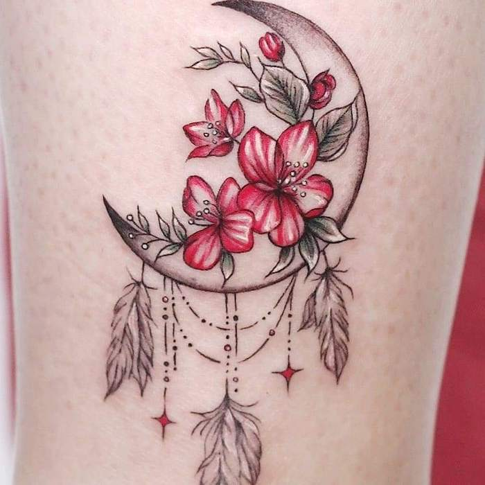crescent moon, red flowers, leg tattoo, dream catcher tattoo for men