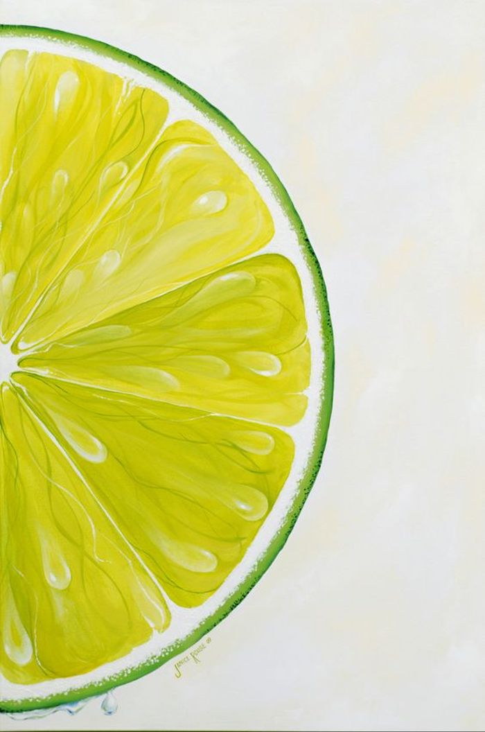 traceable pictures, slice of lemon, close up, green and yellow paint, white background