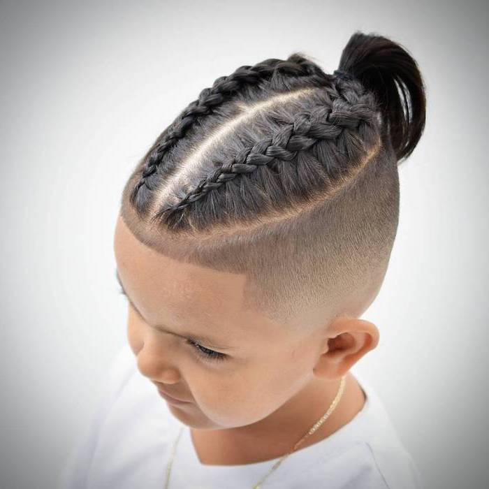 little boy, with black hair, french braids, in a ponytail, braids hairstyles 2019, white background