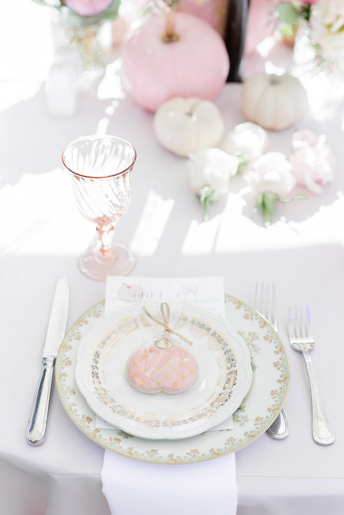 baby shower themes, plate setting, little pumpkin, white napkin, pink and white pumpkins