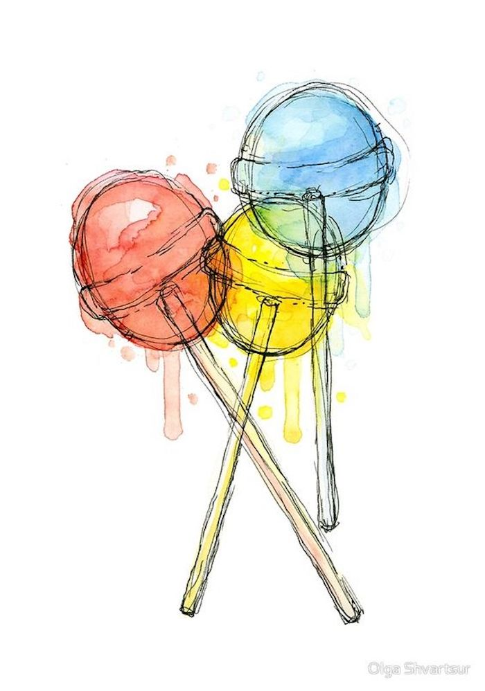 three lollipops, red yellow and blue, white background, tracer drawing