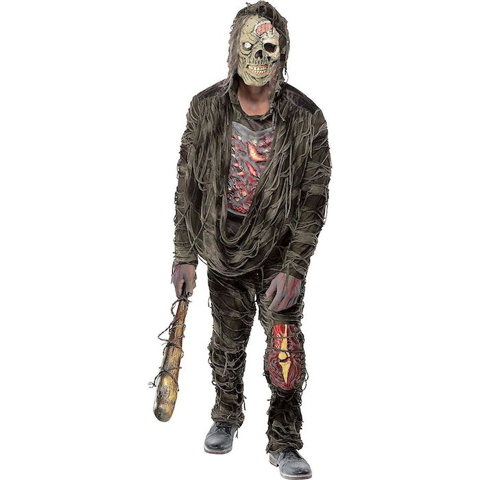 man dressed as zombie, what should i be for halloween, carrying a bat, white background