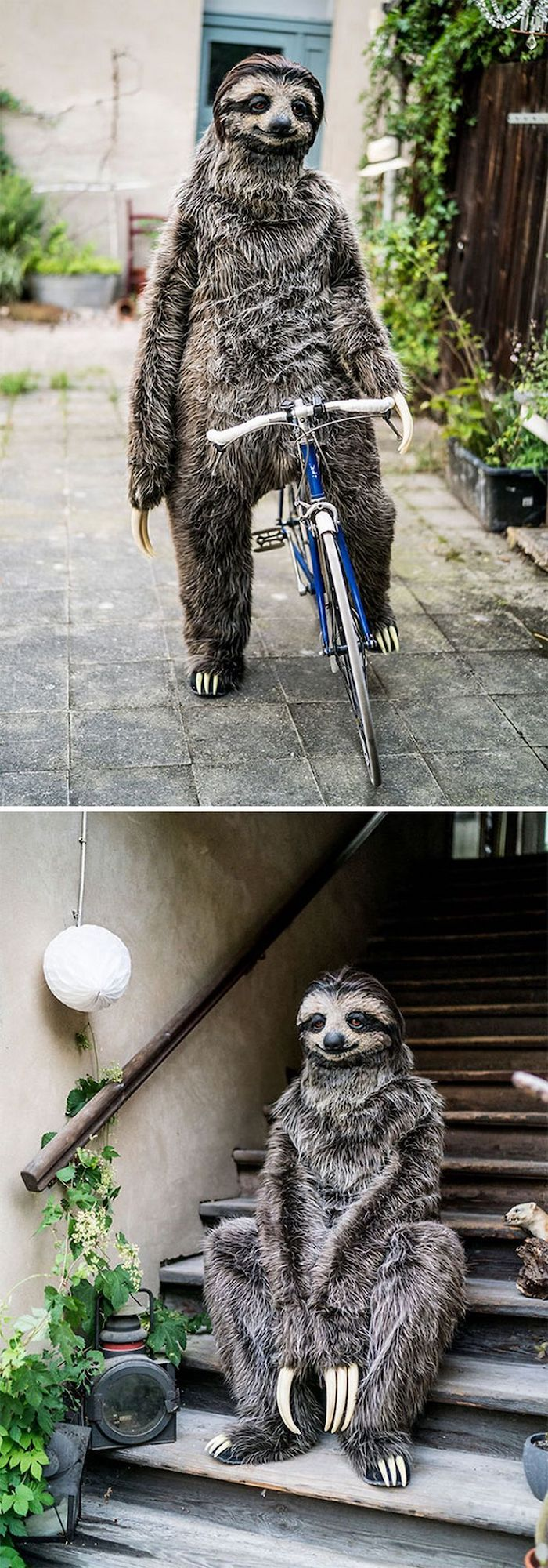 man in a sloth costume, riding a bike, sitting on stairs, what should i be for halloween, side by side photos