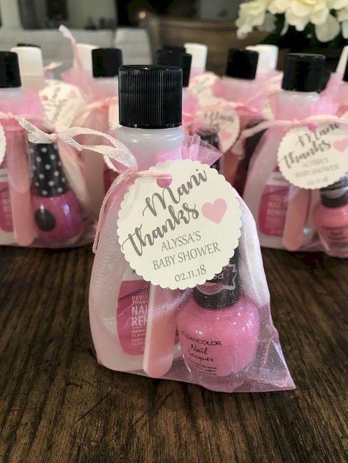 mani thanks, party favor, nail polish remover, nail polish, nail filer, in a bah, baby shower themes