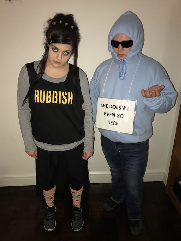 halloween costumes ideas for adults, mean girls characters, rubbish top, she doesn't even go here sign