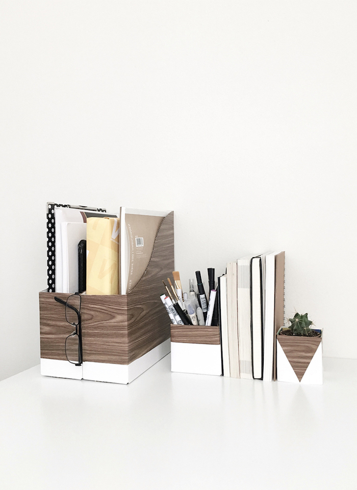 wooden folders, potted succulent, pencil holder, cute office decor, books in between, white desk
