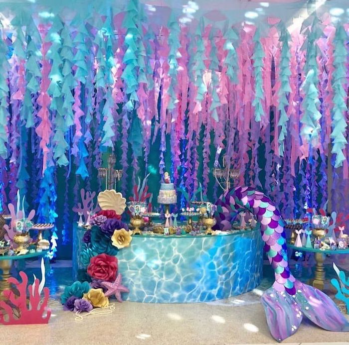 intricate decor, dessert table, mermaid baby shower, pink purple and turquoise decor, three tier cake