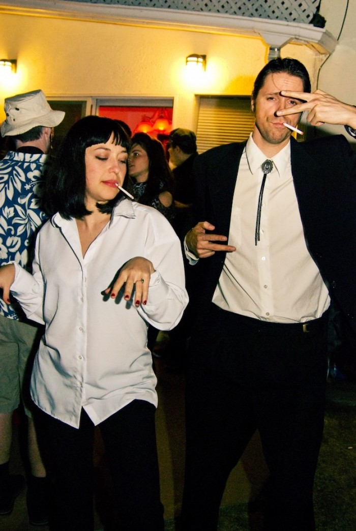 man and woman, vincent vega, mia wallace, pulp fiction, diy halloween costumes, smoking cigarettes