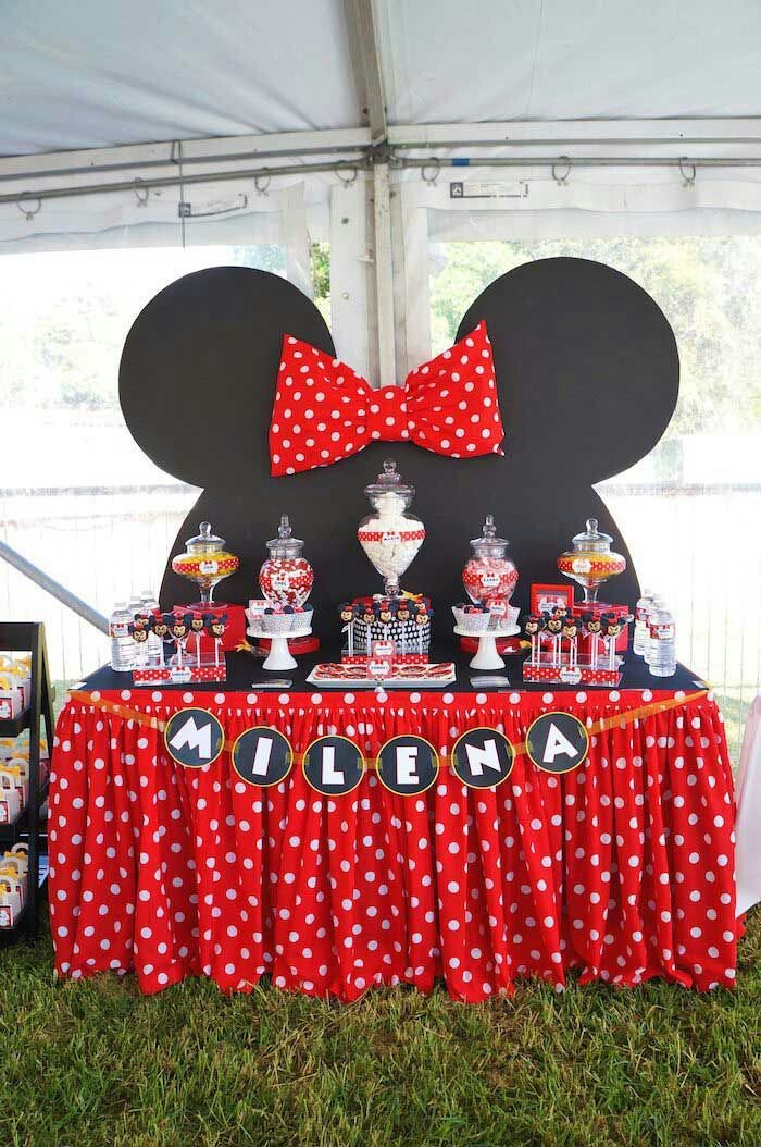 minnie mouse theme, black and red decor, mermaid baby shower, dessert table, candy jars, cake pops