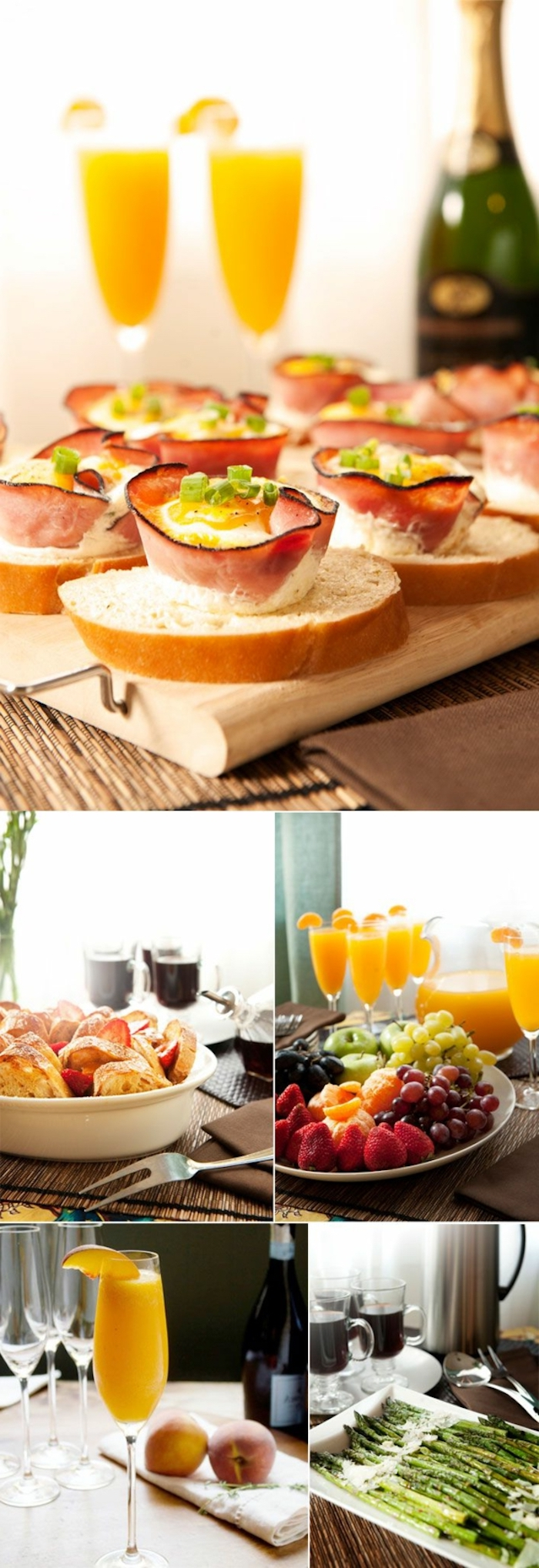 mimosas with orange slices, brunch table, brunch potluck ideas, bacon and eggs, fruit platter