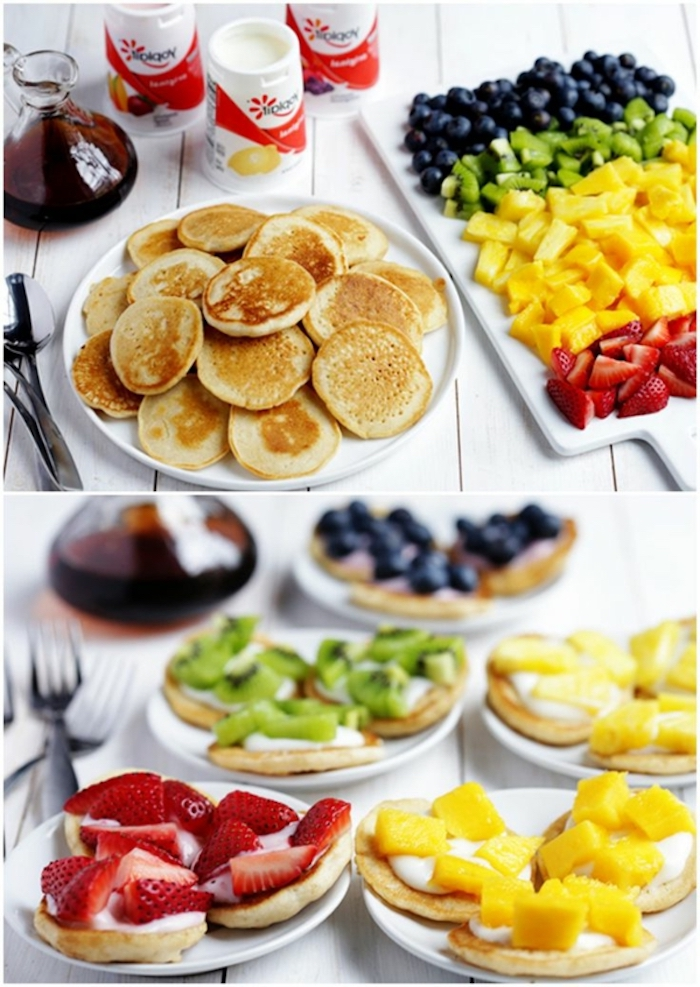 mini pancakes, easy brunch ideas, white cutting board, strawberries and pineapple, kiwi and blueberries