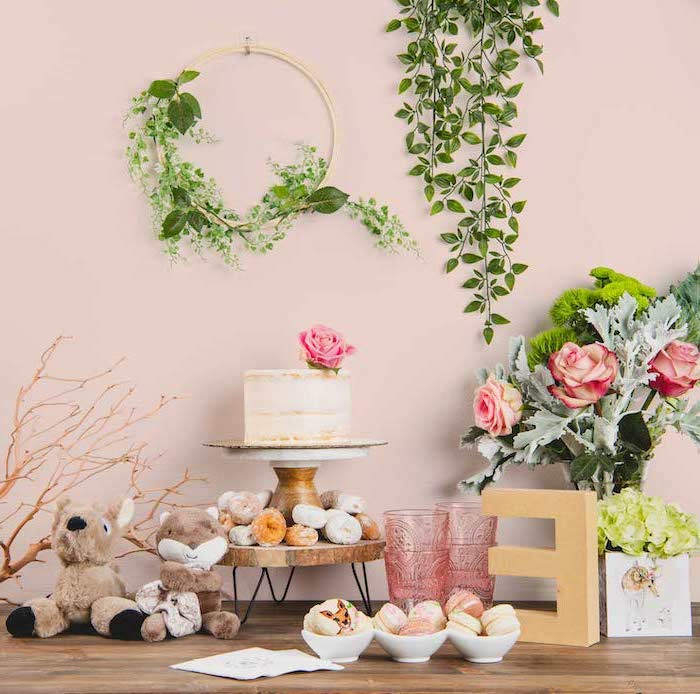 flower bouquet, mermaid baby shower, cake and donuts, rustic decor, wooden table