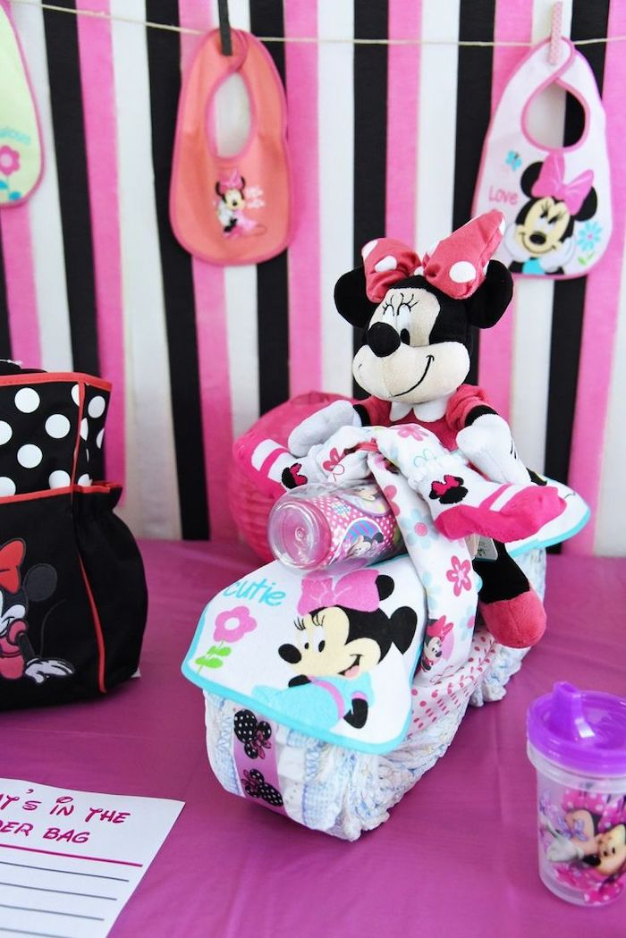 minnie mouse theme, hanging bibs, baby shower decoration ideas for girl, pink black and white decor