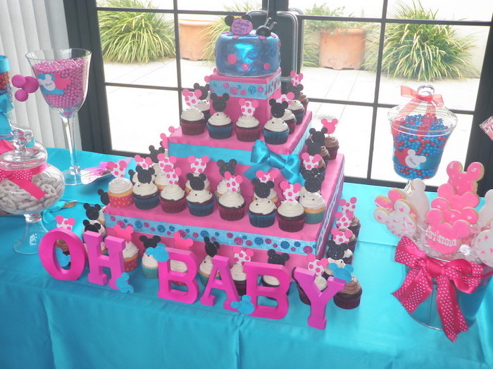 baby shower decoration ideas for girl, oh baby, minnie mouse theme, minnie cupcakes, blue and pink decor